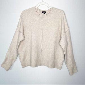 LINE Size L Wool Alpaca Blend Raw Seam Crewneck Sweater